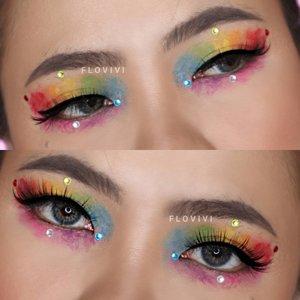 Rainbow Watercolor 🖌️ . Nemu teknik makeup unik di tiktok 😱 Besok aku upload ya video tutorial nya 👌🏻 . Eyeshadow nya aku pake @imagicofficial.id yg Zebra Palette. . #indobeautygram #slave2beauty #makeupoftheday #allmodernmakeup #eyeshadowlooks #eyeshadow #beautybloggerindonesia #motd #flovivi #ClozetteID #undiscoveredmuas #worldwidemua  #cchannelmakeupid