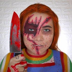CHUCKY 🔪 #childsplay HALLOWEEN CHALLENGE 21/31 🎃 #31daysofhalloween 🎃 . Kayaknya bulan Oktober ini korengan mulu ya gua 🤣 Btw sorry upload tgl 21 nya today, soalnya semalem udah kemaleman bikin look nya 😭 PS : rambut dan warna softlens editan yak . #wakeupandmakeup #halloween2019 #halloweenmakeup #halloween2k19 #halloweenmakeupchallenge #makeupoftheday #makeuphalloween #halloweenedition #motd #flovivi #clozetteID #cchannel #cchannelid @aerisbeaute #aerishalloweencontest