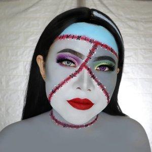 MRS. FRANKENSTEIN 🧟♀️ HALLOWEEN CHALLENGE 11/31 🎃 #31daysofhalloween 🎃 . Buat day 11 ini special ya... Aku collab bareng @averinanggita . She's a pro btw 😍 Gimana suka ga? . #wakeupandmakeup #halloween2019 #halloweenmakeup #halloween2k19 #halloweenmakeupchallenge #makeupoftheday #makeuphalloween #halloweenedition #motd #flovivi #clozetteID #cchannel #cchannelid #BeautyBloggerIndonesia