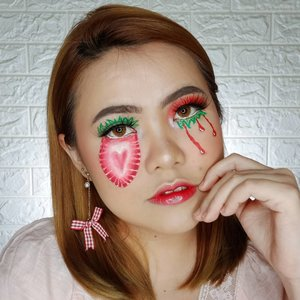 🍓🍓🍓WHO LOVES STRAWBERRY?.Inspo : @sandrabeverlyartistry.Deets :@makeoverid Powerskin Water Moisture Charge@pondsindonesia x @architasiri Unicorn Glitter Cream@benefitindonesia POREfessional License to Blot@getthelookid Infallible 24h Fresh Wear 125@maybelline Fit Me Loose Powder 10@lakmemakeup Classic Reinvent Skin Brightening Compact Light@blpbeauty Face Glow (Midnight)@byscosmetics_id Blush Trio@beautycreations.cosmetics Swet Glow Highlighter@morphebrushes 35B Eyeshadow Palette@lancomeofficial L'Absolu Gloss Sheer 317@blancheflorcosmetics Lip Paint Sexy Cherry@gitageo_softlens Princess Symphony Hazel@officialsnazaroo Face Paint Red & White.@beautybloggerindonesia @indobeautygram @cchannel_id @popbela.beauty @cchannel_beauty_id @popbela_com @clozetteid #ClozetteID #BeautyBloggerIndonesia #indobeautygram #cchannelid #bunnyneedsmakeup @bunnyneedsmakeup