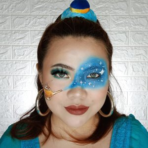 Tell me your wish.... 🧞♀️.Inspired by @llumosmakeup.Gampang gampang susah yee hahaha 🤭Deets :@altheakorea Bare Face Essentials@revlonid Colorstay Foundation 220@thesaemid Concealer@maybelline Fit Me Loose Powder 10@purbasari_indonesia Oil Control  Powder Honey Beige@lakmemakeup Duo Blush@thebalmid Take Home The Bronze Oliver@byscosmetics_id Glitter Liner Silver@luxcrime_id Highlighter@lakmemakeup x @anggierassly Marble Eyebrows@officialsnazaroo Face Painting@beautyglazed @morphebrushes Eyeshadow@zoyacosmetics Lipcream (Deep Claret).#flovivi #clozetteID #bunnyneedsmakeup #wakeupandmakeup #indobeautygram @tampilcantik @setterspace @cchannel_id @cchannel_beauty_id