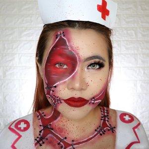 NURSE 👩🏻⚕️ HALLOWEEN CHALLENGE 12/31 🎃 #31daysofhalloween 🎃 . HAHAHA Pusing... Gimana sih cara bikin shadow yg bagus 🤦🏻♀️ Ini recreate @makeupmaylen 🙆🏻♀️ Btw, di next next slide aku ada sedikit tutor cara bikin Blood Splater gituuu wkwk kali kali ada yg mau coba 🙈 . #wakeupandmakeup #halloween2019 #halloweenmakeup #halloween2k19 #halloweenmakeupchallenge #makeupoftheday #makeuphalloween #halloweenedition #motd #flovivi #clozetteID #cchannel #cchannelid #BeautyBloggerIndonesia #indobeautygram