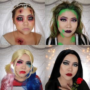 RECAP DAY 25-28🎃 #31daysofhalloween  Favorite kalian yg mana ? . #wakeupandmakeup #halloween2019 #halloweenmakeup #halloween2k19 #halloweenmakeupchallenge #makeupoftheday #makeuphalloween #halloweenedition #motd #flovivi #clozetteID #cchannel #cchannelid #100daysofmakeup