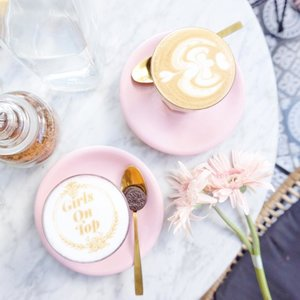 Chai latte + pink + marble + golden spoon. Sweetest! 💕-#flatlay #pink #latteart #coffeecartel #SummerinBali #ClozetteID