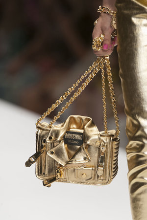 The crowd pleasing collection was all about having fun along with his love of Barbie. This bag reminded us a little bit of Elvis, dont you agree?  Read more: http://stylecaster.com/best-bags-spring-2015/#ixzz3TZjo4vhR
