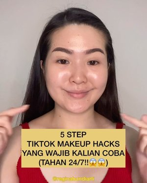 ‼️Wajib tahu guys‼️MAKEUP HACKS😱😱 Details and how to :1. Moisturizer2. Loose powder3. Setting spray4. Primer5. FoundationThen do your makeup routine. It last for 24/7 😱😛. Thank me later 😘-#clozetteid #tiktokhacks #quarantine #tiktokmakeup #simple #indonesia #tiktokindonesia #viralvideos