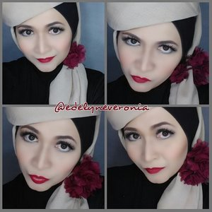 Makeup and hijab style by me.  Details  Face : Evian mineral vitamin water, Wardah anti aging serum, Mac pro full coverage nw20, Ben Nye Neutral Set, Kryolan foundation stick NG1,Wardah Twc Eksklusif Series 01, Ltpro Shade and Tint 02, Beauty Treats Pallete Blush on.  Eyes : NYX Eyeshadow Base White, Urban Decay Vice3, NYX Wonder Stick Pencil, Loreal False Lashes Butterfly Mascara  Brow : NYX Tame and Frame Tint Brow Pomade Chocolate  Lips : Mua Luxe Velvet Lip Lacquer Reckless  Lashes : @naomi_eyelash  #makeupbyedelyne #hijabbyedelyne #hijabstyle #hijabphotography #hijabfashion #instahijab #hijabellamagazine #hijabmodern #clozetteid #HOTD #ScarfMagz #makeup #dressyourface #vegas_nay #makeupartistsworldwide #wakeupandmakeup #huda_beauty