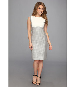 Calvin Klein Lux Cap Sleeve Colorblocked Dress Tin Multi - 6pm.com