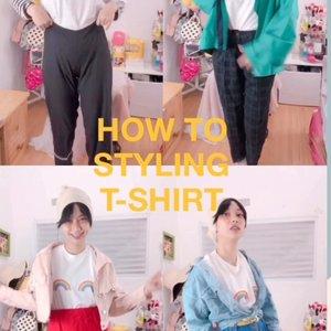 Kamu tau ga kenapa pelangi adanya cuma setengah gitu ?  soalnya setengahnya lagi ada di T-Shirt @poopsy.pie hihihi _____________________________________ Tadaaaaa how to styling t-shirt ala kadarnya 😌🙃👏🏻 #clozetteid #ootd #ootdindo #howtostyling #howtpstylingtshirt