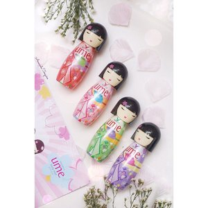 """Full series of @shinzuiume_id Body Mist💐 (From left to right)💐• Iseiya (Red)• Ayumi (Pink)• Hatsune (Green)• Keiko (Purple)I know the packaging's uber cute, it's inspirate from Japan doll named """"Kokeshi"""". 🇯🇵Can't resist to collecting all of it~#shinzuibodymist #CompleteYourDay#flatlaychallenge #umebodymist#clozetteid #cotd #lykeambassador #beautynesiamember"""