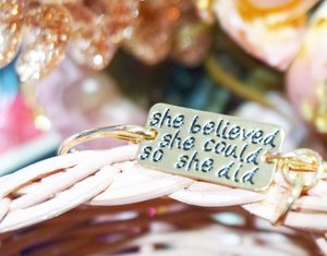 """She Believed She Could So She Did"". Delivered Fresh From Canada to Indonesia~ Love this bangle so much!!!! It's motivate me a lot 💋 Hope this post will motivate you too~  Thank you @shebelievedbangle ✨  You can get yours at www.shebelived.com  #lykeambassador #beautynesiamember #cotd #clozetteid"
