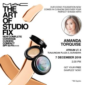 Proudly @maccosmetics presents The NEW Complete Coverage Cushion Compact SPF 50 PA++++ CATAT tanggalnya: 7 December 2019 Di Atrium Tunjungan Plaza 3 Jam 2pm See y there 💋....#workwothtorquise #bloggersurabaya #clozetteid #maccosmetics