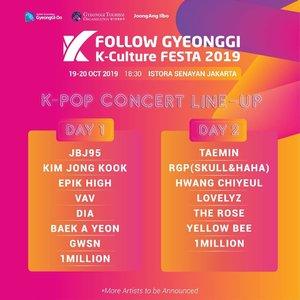 Heyho ma belle, yang k-poppers mana suaranya??? Follow Gyeonggi K-Culture FESTA 2019 akan hadir di jakarta!Acara ini merupakan sebuah kegiatan yang dilaksanakan oleh pemerintah provinsi Gyeonggi-do, Korea Selatan 🇰🇷 untuk mempromosikan destinasi wisata daerah Gyeonggi-do. Acara tersebut akan digelar selama dua hari yaitu pada tanggal 19-20 Oktober 2019 di Istora Senayan Jakarta.__Disana bakalan ada:𝐉𝐁𝐉𝟗𝟓, 𝐊𝐢𝐦 𝐉𝐨𝐧𝐠 𝐊𝐨𝐨𝐤, 𝐄𝐩𝐢𝐤 𝐇𝐢𝐠𝐡, 𝐕𝐀𝐕, 𝐃𝐈𝐀, 𝐁𝐚𝐞𝐤 𝐀 𝐘𝐞𝐨𝐧, 𝐆𝐖𝐒𝐍, 𝟏𝐌𝐢𝐥𝐥𝐢𝐨𝐧, 𝐓𝐚𝐞𝐦𝐢𝐧, 𝐑𝐆𝐏 (𝐒𝐤𝐮𝐥𝐥 & 𝐇𝐚𝐡𝐚), 𝐇𝐰𝐚𝐧𝐠 𝐂𝐡𝐢𝐲𝐞𝐮𝐥, 𝐋𝐨𝐯𝐞𝐥𝐲𝐳, 𝐓𝐡𝐞 𝐑𝐨𝐬𝐞, 𝐘𝐞𝐥𝐥𝐨𝐰 𝐁𝐞𝐞, dan masih akan ada Artist lainnya yang akan dibisikin nanti!__Follow Gyeonggi K-Culture FESTA 2019 gak hanya menggelar konser K-Pop aja, tapi ada beberapa kegiatan seru lainnya seperti : Pameran 31 destinasi wisata Gyeonggi-do, Dance workshop dari 1 Million Dance Studio, Experience event (K-Beauty, K-Food, K-Hot Place)Oh ya jangan lupa untuk follow & @follow.gyeonggi turn on your notification biar ga ketinggalan info ter-update nya ya! 🎶#FollowGyeonggi#KPopFestivalJakarta#KCultureFESTA2019#Kpopjakarta#Kpopindonesia#Kpopers