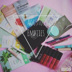 August Empties.  It is the time to buy new products!  #emptiesbyvina . . . #empties #augustempties #productempties #makeup #skincare #motd #etudehouse #thefaceshop #vivacosmetics #ovale_id #nyxcosmetics #elfcosmetics #silkygirl #pantene #canmake #apieu #coastalscents #clozette #clozetteid