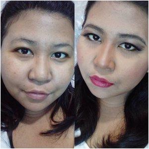 Muka baru bangun mau dijadiin muka kondangam, bisa! The power of makeup. 💪  #lookbyvina . . . #makeup #makeupoftheday #motd #makeupfreak #makeupgeek #fotd #faceoftheday #lookoftheday #lotd #kondangan #nightmakeup #redlipstick #beforeandafter #beforeandaftermakeup #clozette #clozetteid