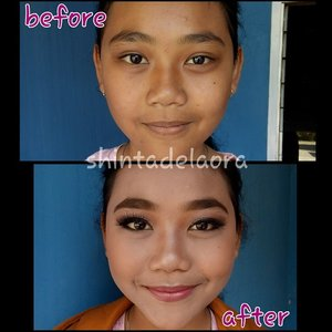 nolongin ank orang... sambil mempelajari lebih banyak struktur. bwahahha. no concealer dll .... smua alat hari ini seadanya yesss.... scara gak bwa aneh2.  ps = diapply cuma wajah aja. n alis gedenya no comment yes hahahha  #beforeafter #indonesian #natural #makeup #clozetteid #fotd #facemakeup #makeupbyme #indonesianbeautyblogger #motd #bareface #smile #instagood #byshintadelaora #beautyblogger #photooftheday