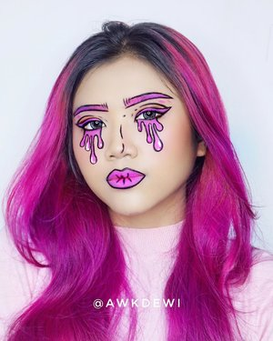 💋POP ART Makeup again (?)Cocokkan sm rambutnya?😂.Product use:@morphebrushes 35B@viva.cosmetics Body paint (Black & White)*iya 2 produk doang :D*Insp: Divinamuse (pinterest)#clozetteid #indobeautysquad #makeupideas #makeupart