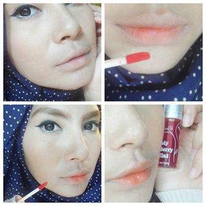 And finishing the look with Holika Holika Berry Tint No.03 Orange 💋 #fotd #clozettedaily #clozetteid #nonsponsored #holikaholika #koreanmakeup #koreanmakeupbrand #liptint #lips #orange #wingedeyeliner #bbloggerslife #bbloggers #blogger #hijab