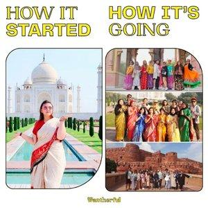 """Di sabtu sendu ini, gue pengen cerita sedikit tentang satu hal yg lagi gue kangenin banget dan gimana awal mula terbentuknya.. Yes.. Gue kangen @indiatripmurahHow it started :Bermula dari gue backpackeran ke India bersama cewe cewe tangguh, buta akan peta india, dan modal nekat doang.. Dulu, India terbilang negara high risk untuk tourist apalagi wanita.. Tp kita semua berangkat modal nekat, cewe cewe doang.. Suhu lagi super panas, sampe 43 derajat, tapi kita tetep terusin. Ternyata pas sampai sana.. INDIA itu cantik.. Orang orangnya ramah, dan ga seburuk pemberitaan di media.. Kita berlima bener bener beruntung banyak org baik bantuin kita pas backpackeran.. mulai dari jaipur, agra, lalu ke delhi..Dan pas mau pulang, di Delhi gue bilang dalam hati.. suatu hari, gue akan kesini lagi... terus 2 x balik ke India.. tetep ga cukup.. gue selalu bilang, gue akan balik lagi kesiniHow its going :Tahun 2019 awal, orang yg punya hostel tempat gue nginep di Agra itu lumayan deket sama gue, lalu gue dan kakak nya dia akhirnya nekat bikin travel agent namanya @indiatripmurah dan daftarin travel agent kita di tourism India.. akhirnya, gue resign dari kantor gue dan memulai bisnis travel India bareng temen gue di India.. Awalnya bapak gue ga setuju, tapi gue tetep pergi ke India sambil nangis wkwk untung akhirnya doi udh biasa aja skrg wkwkwkSERU.. Banyak pengalaman yg gue ambil. Banyak orang baru yang gue temui. Di tipu, rugi, dll itu udh biasa.. udh gue makan semuanya.. tapi gue seneng ngejalaninnya..Gue ga tau kalau dulu gue ga nekat backpackeran ke India, mungkin gue masih jd org kantoran kali.. that trip changed my life forever.. Yaa walau skrg masih corona dan gue blm bisa memulai trip lagi, tapi gue selalu seneng kalau liat liat galeri @indiatripmurah dengan berjuta tawa dari client client gue yg pada puas dan seneng liat India.. i cant wait to start it again from 0 after corona.. :)Prinsip gue dari dulu """"selama masih muda, gue mau coba apapun sebanyak banyaknya, i will take"""