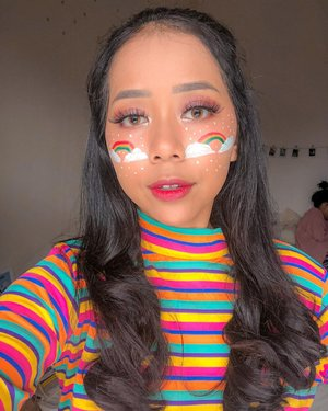 Reminder: a rainbow will arise after the rain falls. 🌈 so obsessed with the beauty of rainbow. It reminds me to always be grateful whatever the season is.⁣⁣Lagi belajar bikin face painting simpel gitu akhir-akhir ini. Kalian suka nggak? 🥺⁣⁣#ivgbeauty #cchannelbeautyid #rainbowmakeup #wakeupandmakeup #inspirasicantikmu #indobeautysquad #clozetteid
