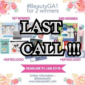 [🎁GIVEAWAY🎁] BESOK!! Terakhir submit #BeautyGA1 yaaa.. Hadiah nya ada uang tunai, kallulator CASIO My Style, CC Cushion TheFaceShop, Cetaphil, Benton, Nivea, Emina, Holika Holika, L'Oreal, DLL. CARA NYA : . .  1. Follow Instagram @beautyasti1 , blog beautyasti1.com (Caranya : Klik Follow My Blog - GFC) , dan Google+ aku (Caranya klik Google+ Followers ==> Klik add to Cirlces)  2. Regram poster giveaway ini di Instagram kamu, dengan multiple foto kedua adalah hasil capture salah satu postingan di beautyasti1.com yang kamu suka (Kamu pilih ya salah satu postingan di blog aku yang kamu suka, terus kamu capture)  3. Tulis caption kenapa kamu suka dengan postingan tersebut dan cantumkan juga nama Google+ dan nama GFC kamu dengan hashtag #BeautyGA1  4. Tag teman kamu sebanyak banyak nya untuk ikutan #BeautyGA1 (minimal 5 orang)  5. Kriteria penilaian berdasarkan caption  terbaik (Juri tambahan : @MsrenC) 6. Deadline 31 Januari 2018 dan pengumuman pemenang 3 Februari 2018 di IG Story @beautyasti1 . . Good luck! . . . #clozetteid #kuis #kuisberhadiah #quiz #gaindo #giveaway #giveawayindo #regramcontest #giveawayindonesia #indogiveaway #kontes #kontesberhadiah #gratis #gratisan #hadiah #FREEONGKIR #jakarta #indonesia #giveawayjakarta #giveawaymakeup #kuisgratis #kuishunter #kuisinstagram #instagramkuis #kuisindonesia #quizhunter #infokuis #infoquiz