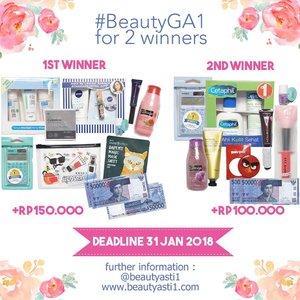 🎁[GIVEAWAY] 🎁 #BeautyGA1 Morning gengs.. ikutan giveaway aku yuukk hadiahnya untuk 2 orang pemenang. Langsung aja cek disini ya http://www.beautyasti1.com/2018/01/beautyga1-giveaway-for-two-winners.html atau klik link yang ada di bio aku 🌎...#clozetteid #kuis #kuisberhadiah #quiz #gaindo #giveaway #giveawayindo #regramcontest #giveawayindonesia #indogiveaway #kontes #kontesberhadiah #gratis #gratisan #hadiah #FREEONGKIR #jakarta #indonesia #giveawayjakarta #giveawaymakeup