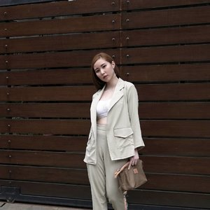 More earthy tone vibes. Suited up for the weekend wearing @tgifashion_id Alexa set in khaki paired with my favourite bralette, @loiree.id Hoop Earring and @welkinandspine Travelling dopp kit. Photo taken by @samseite using #NikonJ5 18.5mm lens, the one who made our house fence looks insta worthy 😉 #whatiwore #clozetteid #OOTD