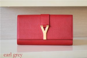 Saint Laurent Chyc Clutch in a perfect shade of red