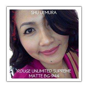 Shu Uemura Rouge Unlimited Supreme Matte BG-944 from @shuuemuraid #selfpotrait #myselfandi #narcism #lipstickjungkie #shuuemuracosmetics #makeupjungkie #clozetteid #fdbeauty #femaledaily