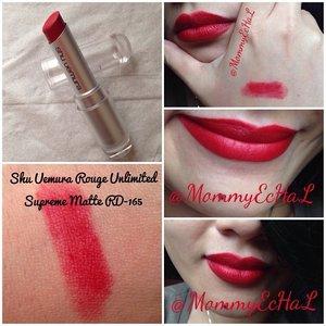 Shu Uemura Rouge Unlimited Supreme Matte RD-165 dari @shuuemuraid #selfpotrait #myselfandi #narcism #lipspotrait #redlipsticks #shuuemuracosmetics #lipstickjungkie #makeupjungkie #clozetteid #fdbeauty #femaledaily