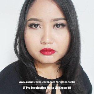 LT Pro Longlasting Matte Lipcream 01 From @anaharlis - Blue based red. Saya personali lebih suka warmtone red. Tapi cooltone red begini oke juga sih, kesannya lebih formal dan bikin kulit dan gigi kelihatan lebih putih. - #review selengkapnya di #bblog #racunwarnawarni: http://http://www.racunwarnawarni.com/2016/10/lt-pro-matte-lipcream.html?m=1 - #ltprolonglastingmattelipcream #clozetteid #mattelipstick #localbeautybrand #localbrand #lipstickswatch #fotd #motd #lotd #racunlipstickswatch DILARANG MENGGUNAKAN FOTO INI TANPA IJIN