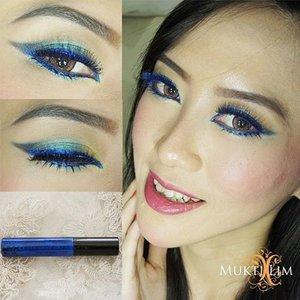 Smile with your eyes Using NYX studio liquid liner @nyxcosmetics @nyxmakeupid  #smilewithyoureyes #msmxnyx #makeup #blueeyeliner #eotd #eyelook #vegas_nay #mayamiamakeup #wakeupandmakeup #mua #makeupartistworldwide #makeupartist #jakartamua #muajakarta #beautyblogger #indonesiabeautyblogger #clozetteid #clozette  @masamishoukoid