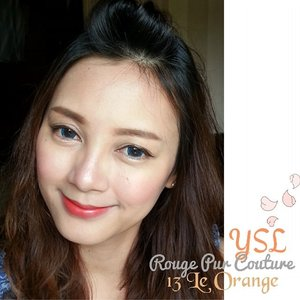 #LeOrangewith lip line smudged.♪#YSL Rouge Pur Couture 13#orangelipstick #yslbeauteid #イヴサンローラン #femaledaily #clozetteid #fdbeauty #beautyaddict #makeupjunkie #fotd♪Other ingredients are...#YSL youth liberator serum foundation in BD30#GiorgioArmani maestro eraser 04#Chanel Joues Contraste in 67 #RoseTourbillon#Burberry light glow 07 earthy#Lancome arliner 02 brown#ベルサイユのばら eyebrow pencil#Pmel essence eye color in beige#lauramercier loose setting powder#Guerlain #meteorites #Wulong#ゲラン #meteorites #cruelgardenia