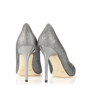 Jimmy Choo Abel Anthracite Lamé Glitter Pointy Toe Pumps
