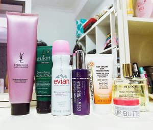 ( #blog ) | Today's Morning Routine : . 🍬 (1st cleanse) #YSLbeauty Forever Youth Liberator Cleansing Foam. 🍬 (2nd cleanse) #Sukin Detoxifying Facial Scrub. 🍬 (Toner/Mist) #Evian Facial Spray. 🍬 (Essence) #DrBrandNew Hyaluronic Meso Activator Ampoule. 🍬 (Moisturizer/Sunscreen) #VitacremeB12 Day Cream Sun Protection. 🍬 (Lip Care) #Korres Lip Butter in Pomegranate. 🍬 (Body Lotion) #Nuxe Huile Prodigieuse. . . . . #skincare #skincaregram #skincarediary #skincareblogger #beautyroutine #beautyblogger #skincareregimen #iglove #rasianskincare #beautydiaries #ykskincare #starclozetter #skincarelover #ClozetteID