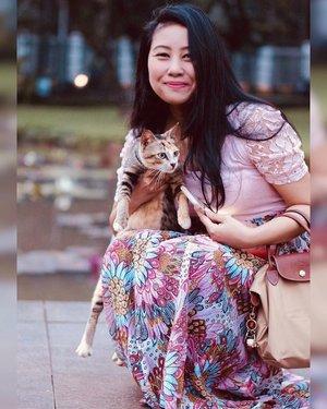 Lagi main di taman eh nemu kucing manja banget ngintilin kemana-mana 🐱 Nasib #catlovers pasti suka ga tahan kalo liat kucing di jalan bawaannya pengen megang. Who can relate? 🙋🏻♀️⠀⠀.#crazycatladyclub #simplestyle #lookdujour #ykwears #beamodest #theeverygirl #petitestyle #clozetteid
