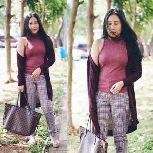 (Edisi foto lama #dibuangsayang) | Semasa belum berponi 💁🏻♀️😝😜 A little #throwback to that time before I got my recent haircut 💇🏻♀️ Dressing up in Fall colors before the #fallweather is officially over 🍇 (#blog) . . . . . . . . . . #winecolor #postthepeople #lookbooknu #aboutalook #currentlywearing #데일리룩 #오오티디 #셀스타그램 #셀카 #셀피 #mylook #ootdshare #clozetteid