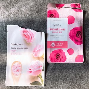 "(#skincarereview) | R O S E . M A S K 🌹🌸 . . 🌺 #EtudeHouse Damask Rose Mask Claims to provide fresh moisture for dry skin, this sheet mask feels very wet but not dripping. It has medium thickness and a subtle scent. Felt tingling / slightly burning on skin but I hope it's just the formula working its magic on my sensitive combi skin. Afterwards my skin felt so moist and well hydrated. It feels a bit sticky on some parts though, but I dont really care as long as it helps me avoid dry skin in the morning (because I used this at night before sleep) . 🌸 #Innisfree It's Real Squeeze ""Rose"" Mask Another rose mask but from different brand. This one has medium thickness and wetness. It felt comforting on skin although nothing very special worth to mention. Except that it helps hydrates my skin and restore some moist back into my dry area. It also made my skin feels smooth. . . . . . . #sheetmask #rosemask #skincarelove #skincareblogger #bbloggers #clozetteid #ykskindiary #skinessentials #roseskincare #skincarereview #beautycommunity"