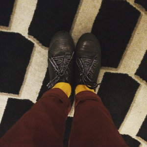 Maroon + red striped shirt + mustard socks ✨🙌🏻 . Photo and outfit styling by me . . #outfitstyling #mixandmatch #maroonpants #goshshoes #livefolk #abmlifeiscolorful #whatiwear #fromwhereistand #shoesootd #ifbootd #abmstyle #clozetteid #stripes #maroonwithmustard