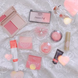 Actually, I am not the one who always uses blush on my daily life, but after checking, there are also many blush on my collection 😄  These are all blush that I use often, there are powder, cream, and liquid blush and I like all types of blush on 😆  What is your favorite blush?  Is there the same as mine?  #beauty #makeup #blush-on #clozette #clozetteid #skincare #blush #blushon #creamblush #liquidblush #powderblush #makeupaddict #kbeauty #localproud