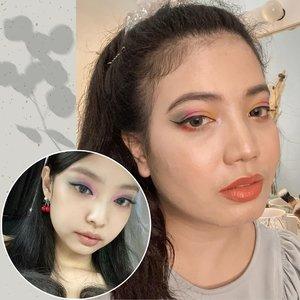 Selamat hari senin dari Jennie KW Cinere! 🤪 - Recreate meap @jennierubyjane pakai @perfectdiaryofficial Fantasist Eyeshadow Palette #06 Terraced Filed nih. Review halunya ada di YouTube 🙈 - #motd #makeup #eyeshadowpalette #rainboweyeshadow #clozetteid
