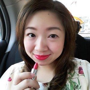 Wearing Ruby from @ultima_id #delicatelipstick . Photo taken using @samsung_id J5 front camera.#clozetteid #beauty #beautyblogger #tunjukkanmomenmu #lipstick #ruby #red #motd #lotd