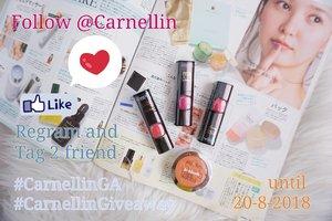 Hello ladies (and gents), Carnellin ada giveaway lagi nih dari hari ini sampai 20 Agustus 2018.  1 orang pemenang akan mendapatkan  3 lipstick dan 1 blush on seperti di foto.  Shade 3 lipstick tersebut adalah: Camelia, Iris, dan Primrose  Blush True Match dengan shade Grapefruit.  Caranya mudah,  1. Follow @carnellin  di instagram.  2. Regram post ini, tag 2 orang teman kamu.  3. Pakaikan hashtag #CarnellinGA dan #CARNELLINGIVEAWAY ya, karena pemilihan giveawaynya random berdasarkan 2 hashtag tersebut dan TIDAK PERLU tag akun @Carnellin.  4. Boleh spam like dan komen ya di post-post aku yang lain.  #lipstickloreal #giveaway #lippies #loreal #hadiah #menangkan #beauty #love #cosmetic #ClozetteID #bloggergiveaway