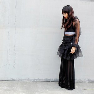 """Black is modest and arrogant at the same time. Black is lazy and easy, but mysterious. But above all black says this: """"I don't bother you - don't bother me"""". (Yohji Yamamoto)#ootd @topshop bra 