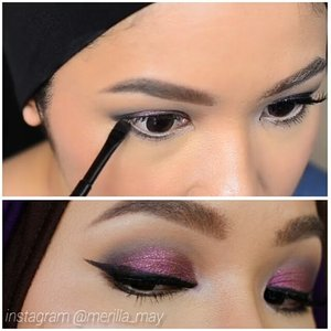 Another attempt on making a mini tutorial, at least it's not all blurry this time 😅😅😅 Brow : @nyxcosmetics tinted brow mascara in Brunette. Eyes : @toofacedmatte palette Vintage Violet (crease), Midnight (outer crease), Tufted Suede (browbone), Coffee Bean (lower lashline). @esteelauder Pure Color Trio : Sterling Plums (lid & inner corner). @lorealparisid gel eyeliner black. @rimmeluk Nude kohl eyeliner. @maybellineina hypercurl cat eye mascara. @lavielash Bluebell. #merilla_may #looxperiments #clozetteid #toofaced #toofacedcosmetics #wakeupandmakeup #makeupfanatic1 #eyeshadowtutorial #makeuptutorial