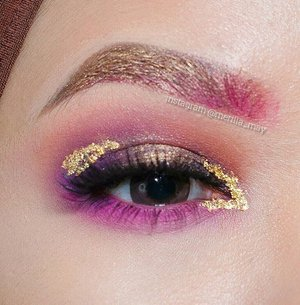 Purple & Gold will always have special place in my heart 💖💖💖 - @urbandecaycosmetics 24/7 pencil eyeliner in Tornado & Perversion- @coastalscents creative me 1 palette shade bright neon pink, deep grape, magenta- @anastasiabeverlyhills morocco, Soft Peach- @katvondbeauty everlasting lipstick in Bauhau5 on brow & under eye- @loraccosmetics pro eyeshadow in Gold on Lid & Brow- @maybellineina aybelline Hypercurl mascara on lower lashes.- @angellashescollection but forgot which one, i'll update later 😉- And of course, some edible gold flakes from baking store 👑#merilla_may #looxperiments #clozetteid #anastasiabeverlyhills #norvina #lucinda212 #kvdbeauty #katvond #bauhau5 #wakeupandmakeup #makeupfanatic1 #brian_champagne #fiercesociety #eotd #eyeart