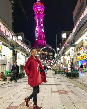 Night stroll >>> exploring another part of Osaka : Osaka Shinsekai - Tsutenkaku . . This area located around 1 stop by train (look for Ebisucho station) from the famous Namba area. I felt curious about this area, which known as a good place to eat kushikatsu 🍢 Well, there's no regret for me to visiting this area at the chilly night because I could find a lot of tasty food. #wheninjapan . . . . . #instaphoto #instatravel #igtravel #travelgram #traveladdict #travelinglady #iamtb #japantrip #visitjapan #japantravel #jntoid #exploreosaka #osakashinsekai #tsutenkaku #osakaatnight #likes #follow #blogger #travelblogger #fashionblog #traveloutfit #lookbook #redcoat #louboutinsneakers #ClozetteID #StellangelitaInJapan
