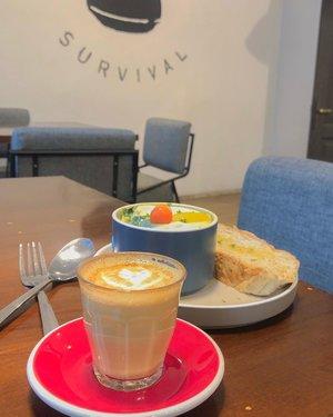 Today breakfast for the survival. 😆 . . . . .  #coffee #morning #latte #latteart #coffeeshop #jogjakarta #travel #travelgram #instatravel #lightroompresets #shotoniphone #instadaily #instagood #instamood #instamoment #clozetteid