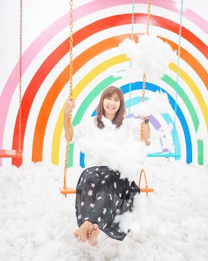 I'm a rainbow in your cloudy day. Because you can't translate a rainbow without a smile on your lips. 😁 . . . . . #rainbow #cloud #play #swing #smile #art #installation #jakarta #travel #travelgram #travelblogger #blogger #sonyalpha #ootd #instadaily #clozetteid