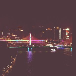 Haiyin Bridge from my mom's window apartment #haiyinbridge #bridge #guangzhou #pearlriver #clozetteid #panorama #travel #travelling #traveller
